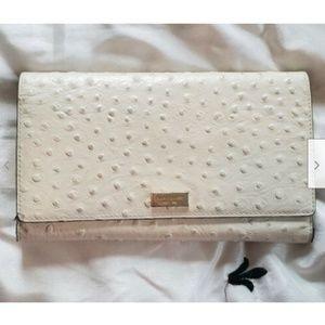 Kate Spade White Phoenix Riverside Ostrich Wallet
